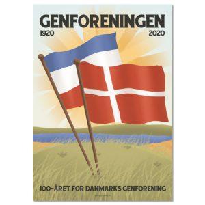 Genforeningsplakat 2020 med 2 flag