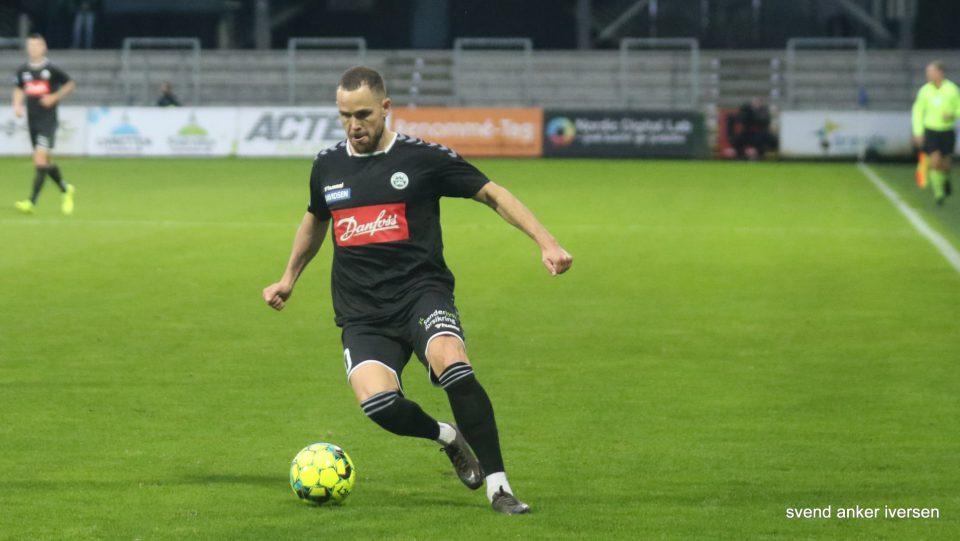Anders K Jacobsen udlignede til slutresultatet mod AGF Foto: Svend Anker Iversen