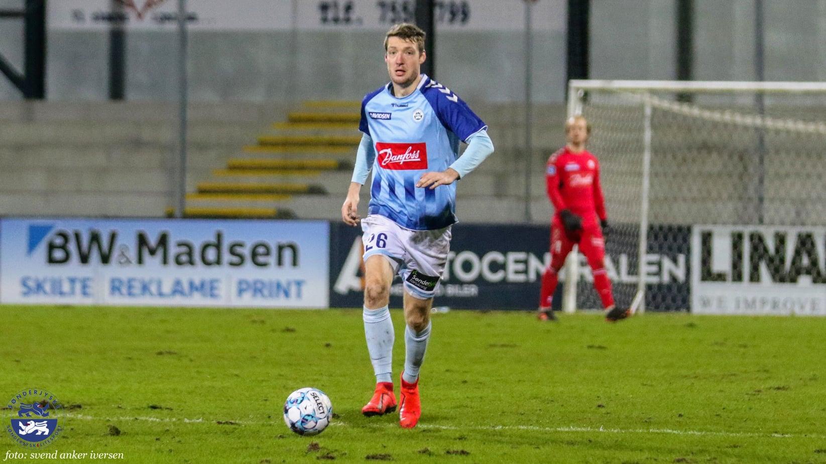 Patrick Banggaard scorede SønderjyskEs Superliga mål nummer 600 Foto: Svend Anker Iversen