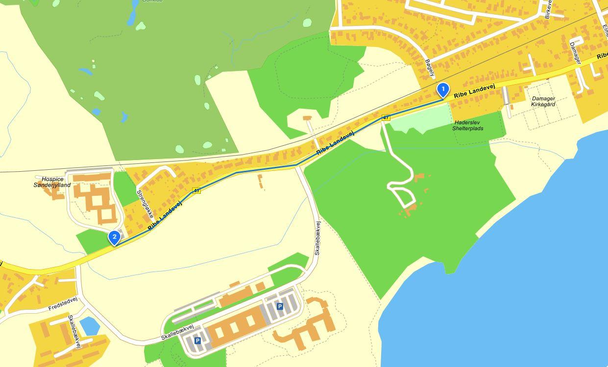 Ledningsarbejdet udføres i etaper på strækningen fra Ribe Landevej 60a mod Ribe Landevej 130 Illustration: Haderslev Kommune